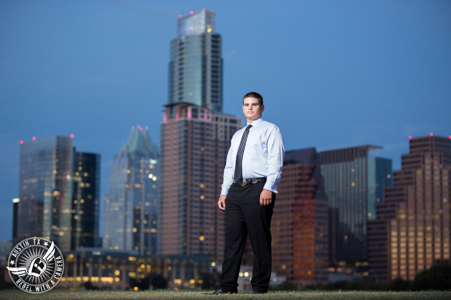 Austin senior portraits at the Long Center with the Austin skyline