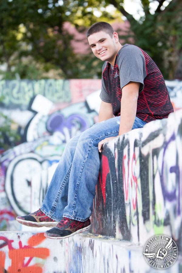 Austin senior portraits at the HOPE Outdoor Gallery graffiti wall