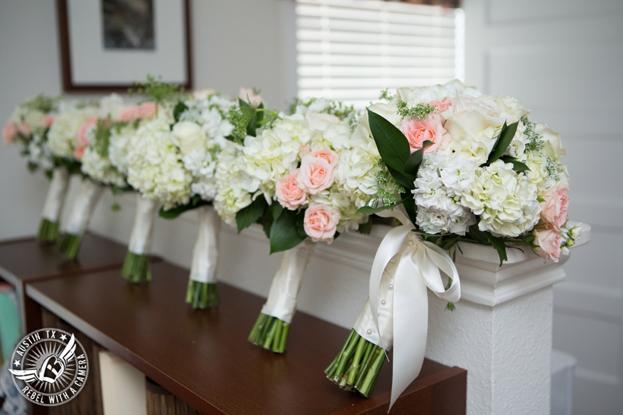 Austin wedding photographer at Hyde Park Presbyterian - bride and bridesmaid bouquets from Central Market