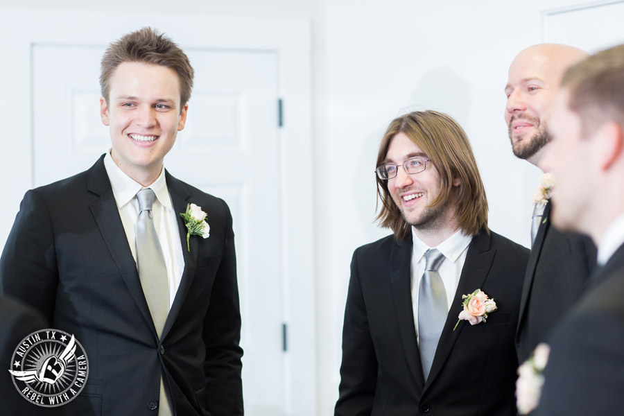 Austin wedding photographer at Hyde Park Presbyterian - groom and groomsmen before ceremony