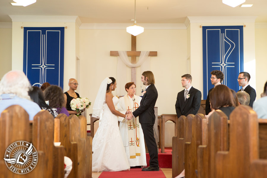 Austin wedding photographer at Hyde Park Presbyterian - bride and groom at wedding ceremony