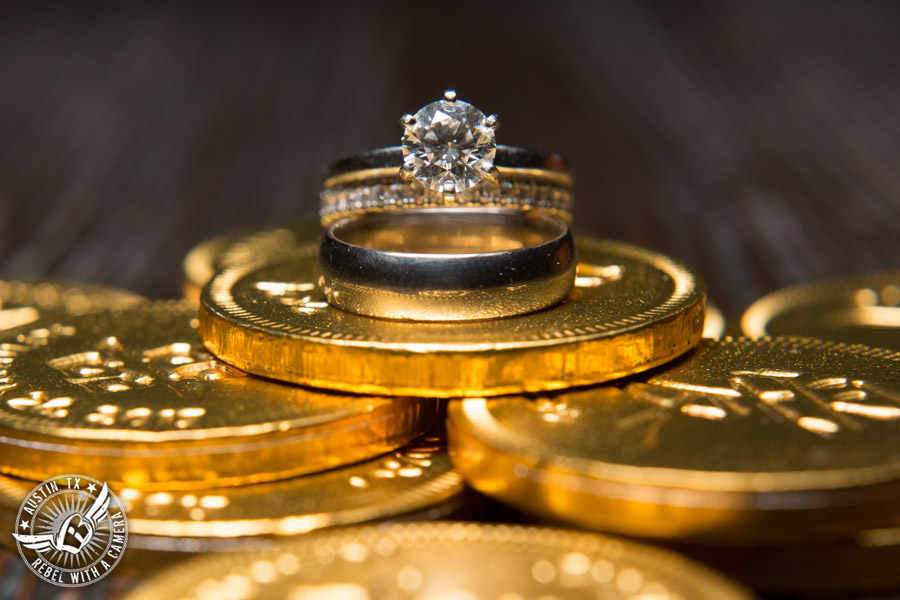 Austin wedding photographer at Olive and June - wedding ring shot with gold coins