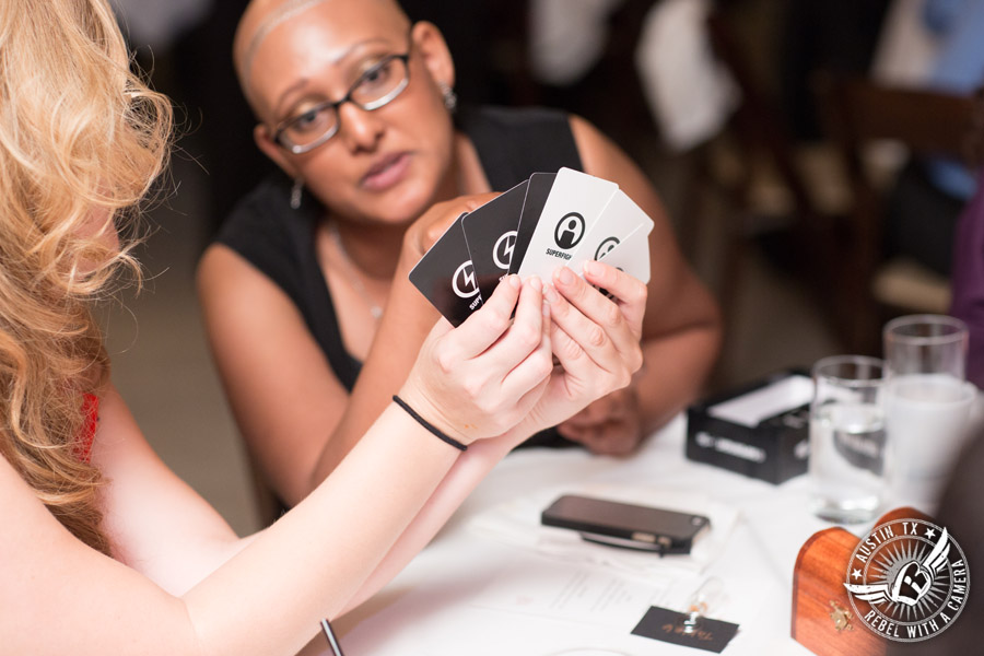 Austin wedding photographer at Olive and June - wedding reception card games