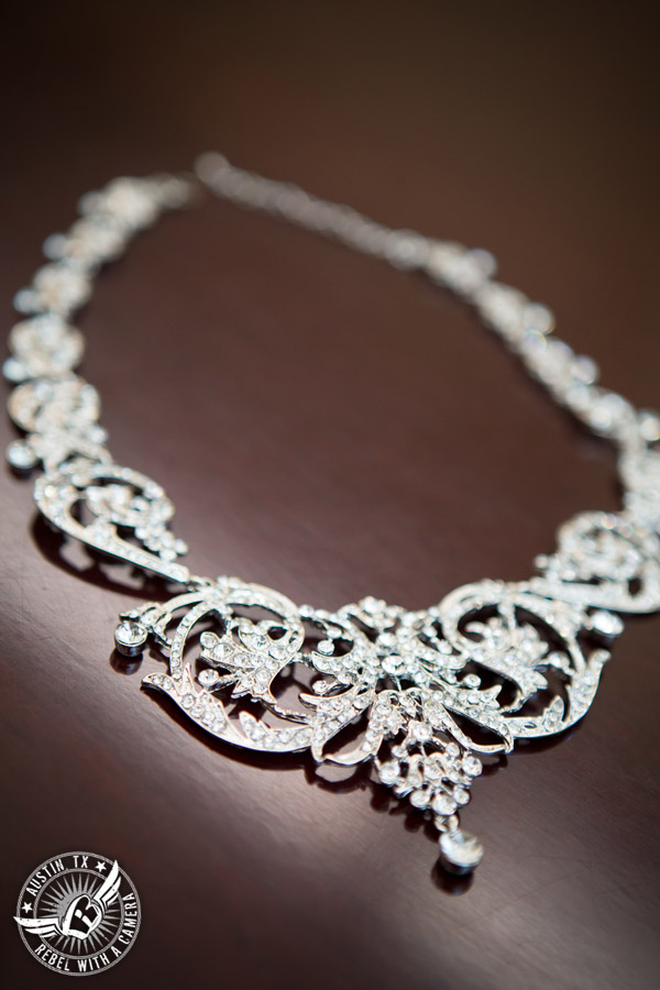 Austin Wedding Photos at Unity Church of the Hills - diamond necklace for the bride