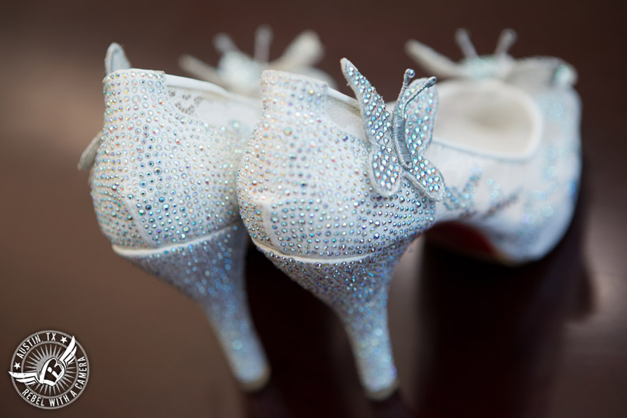 Austin Wedding Photos at Unity Church of the Hills - rhinestone butterfly shoes for the bride