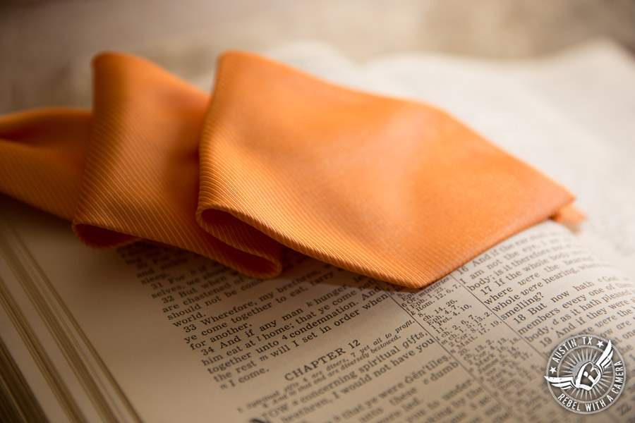 Austin Wedding Photos at Unity Church of the Hills - orange tie for the groom