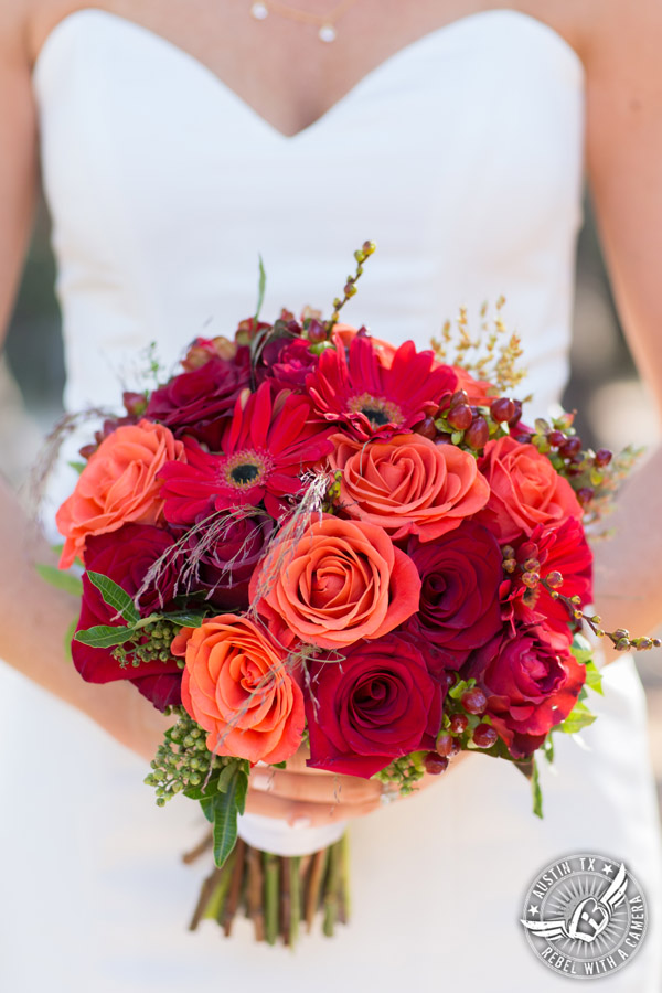 Hamilton Twelve wedding photos - red and orange rose and gerbera daisy bridal bouquet by the Flower Girl