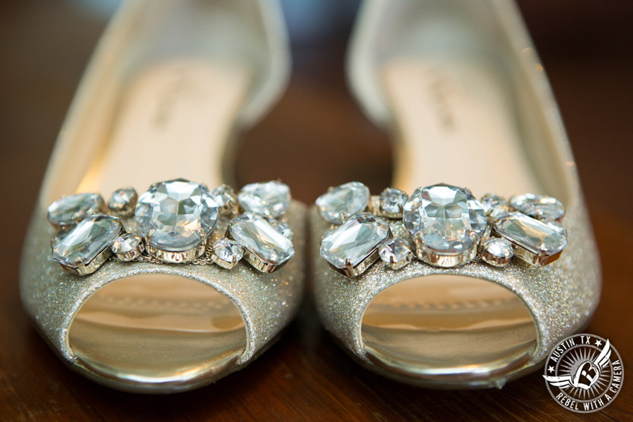 Hamilton Twelve wedding photos - silver glittery rhinestone covered bridal shoes in the bride's room