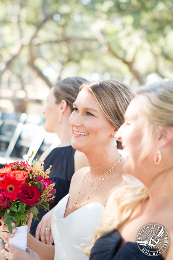 Hamilton Twelve wedding photos - bride laughs with bridesmaids - makeup by Kiss by Katie