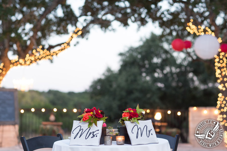 Hamilton Twelve wedding photos - sweet heart table for the bride and groom with Mr. and Mrs. signs