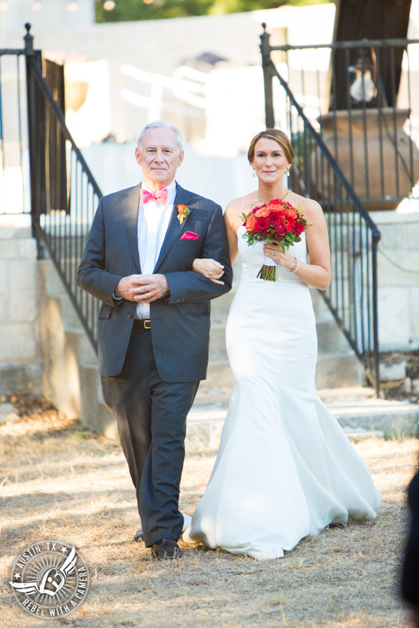 Hamilton Twelve wedding photos - bride and father walk down aisle during wedding ceremony