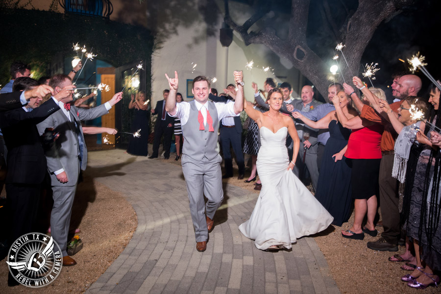 Hamilton Twelve wedding photos - bride and groom exit to sparklers at end of wedding reception