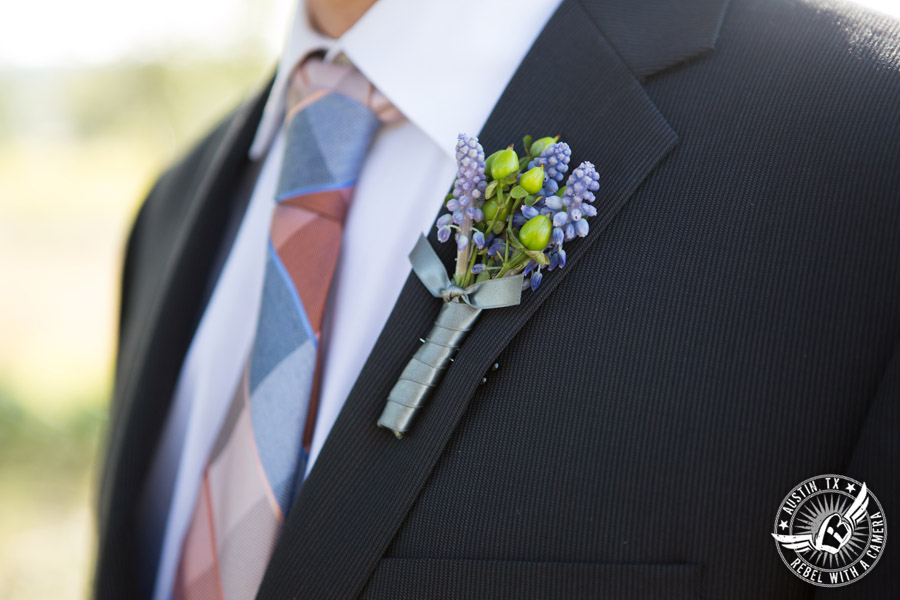 Wedding pictures at Thurman's Mansion at the Salt Lick - boutonniere by Verbena Floral Design