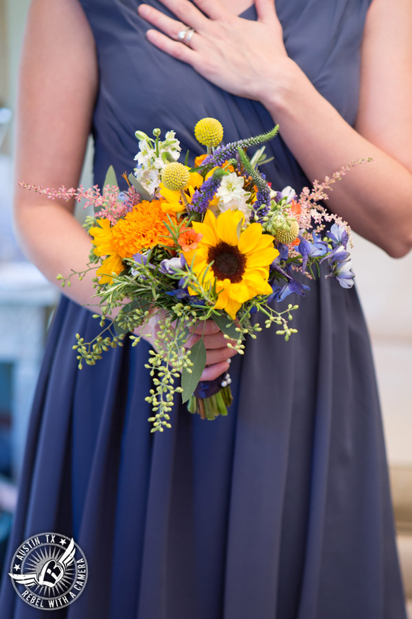 Wedding pictures at Thurman's Mansion at the Salt Lick - colorful wildflower bridesmaid's bouquet by Verbena Floral Design