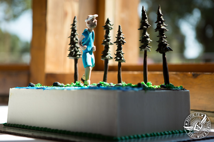 Wedding pictures at Thurman's Mansion at the Salt Lick - hiker in the trees groom's cake by Sweet Treets Bakery