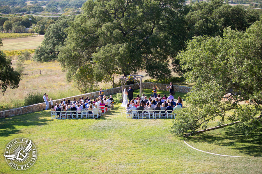 Wedding pictures at Thurman's Mansion at the Salt Lick - shot of wedding ceremony from the balcony