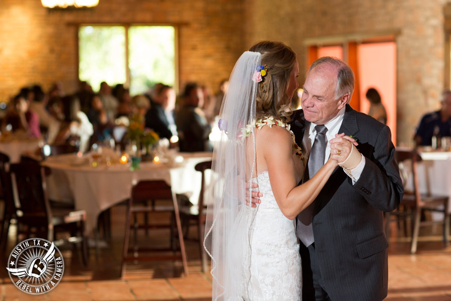Wedding pictures at Thurman's Mansion at the Salt Lick - bride dances with father at the wedding reception - Live Oak DJ