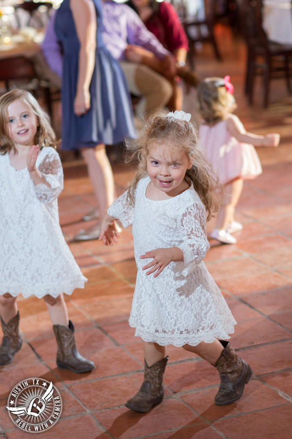 Wedding pictures at Thurman's Mansion at the Salt Lick - flower girls dance at the wedding reception - Live Oak DJ