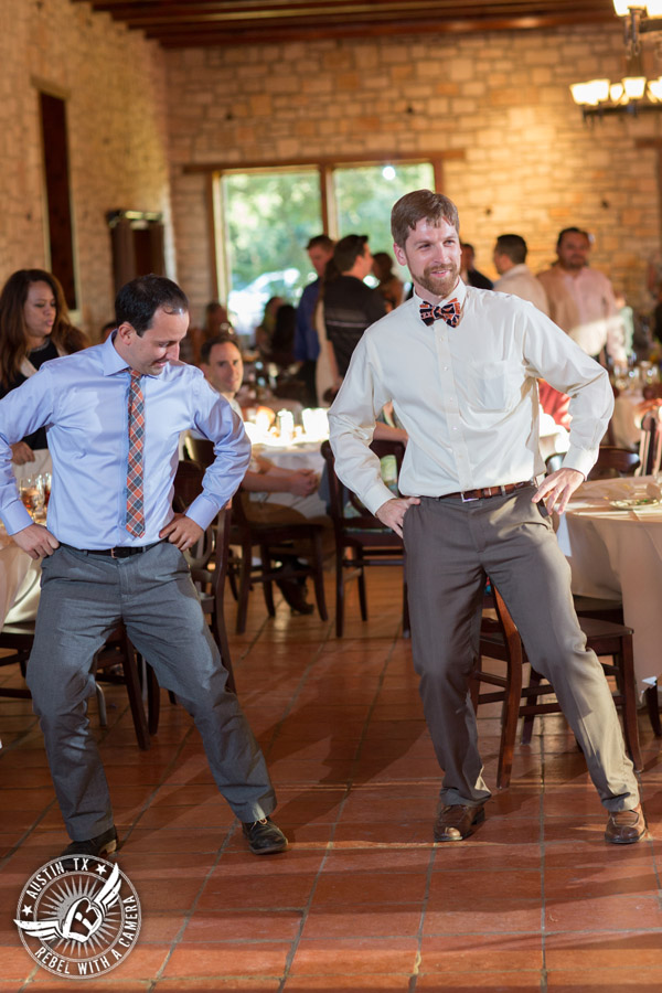 Wedding pictures at Thurman's Mansion at the Salt Lick - guests dance at the wedding reception - Live Oak DJ