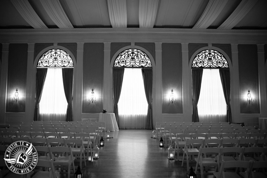 Wedding picture of the inside ballroom wedding ceremony setup at the Texas Federation of Women's Clubs Headquarters in Austin, Texas