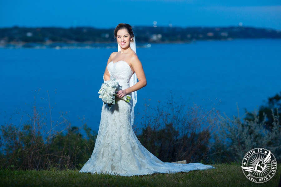 Bridal portraits on Lake Travis - makeup Hint of Shimmer, hair Adore Salon, dress Stella York, bouquet Bouquets of Austin