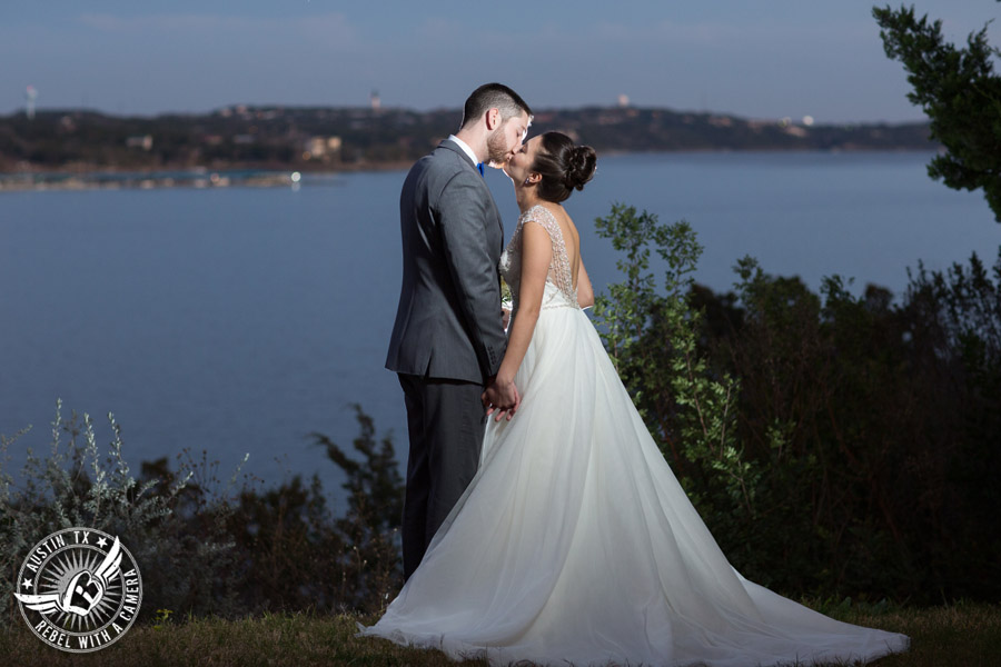 Beautiful wedding pictures on Lake Travis - bride in Maggie Sottero wedding gown with groom
