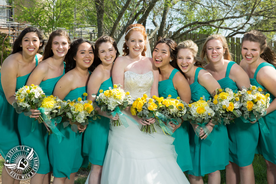 Fun Wedding Pictures at TerrAdorna in Austin, Texas - bride and bridesmaids in turquoise dresses with yellow bouquets - hair and makeup by ATX Bridal Beauty