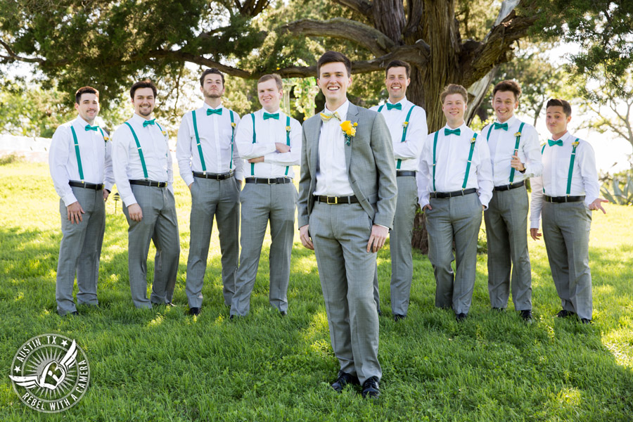 Fun Wedding Pictures at TerrAdorna in Austin, Texas - groom and groomsmen turquoise suspenders and bowties with yellow boutonnieres