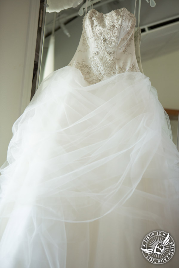 Fun Wedding Pictures at TerrAdorna in Austin, Texas - Alfred Angelo Belle bridal gown in bride's room