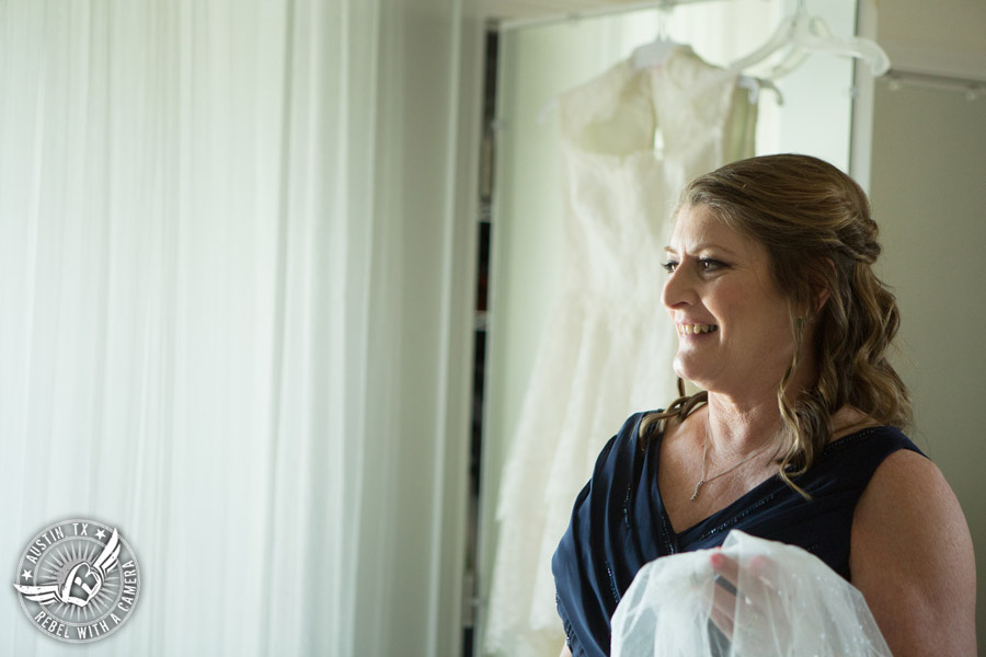 Fun Wedding Pictures at TerrAdorna in Austin, Texas - mother of bride in bridal suite - hair and makeup by ATX Bridal Beauty