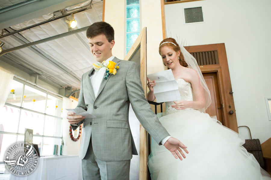 Fun Wedding Pictures at TerrAdorna in Austin, Texas - bride and groom exchange letters in first touch before the ceremony