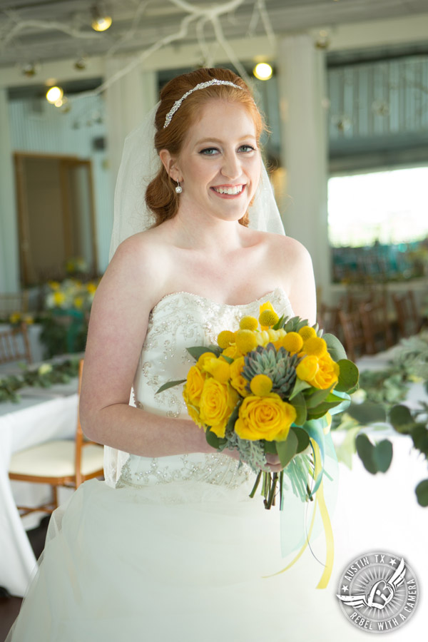 Fun Wedding Pictures at TerrAdorna in Austin, Texas - bride smiles just before the ceremony