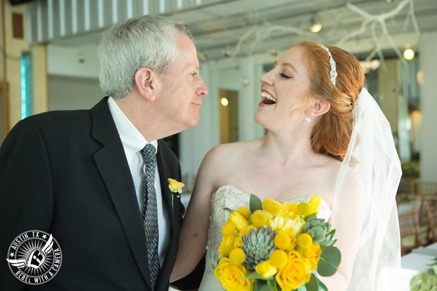 Fun Wedding Pictures at TerrAdorna in Austin, Texas - bride smiles at her father just before the ceremony