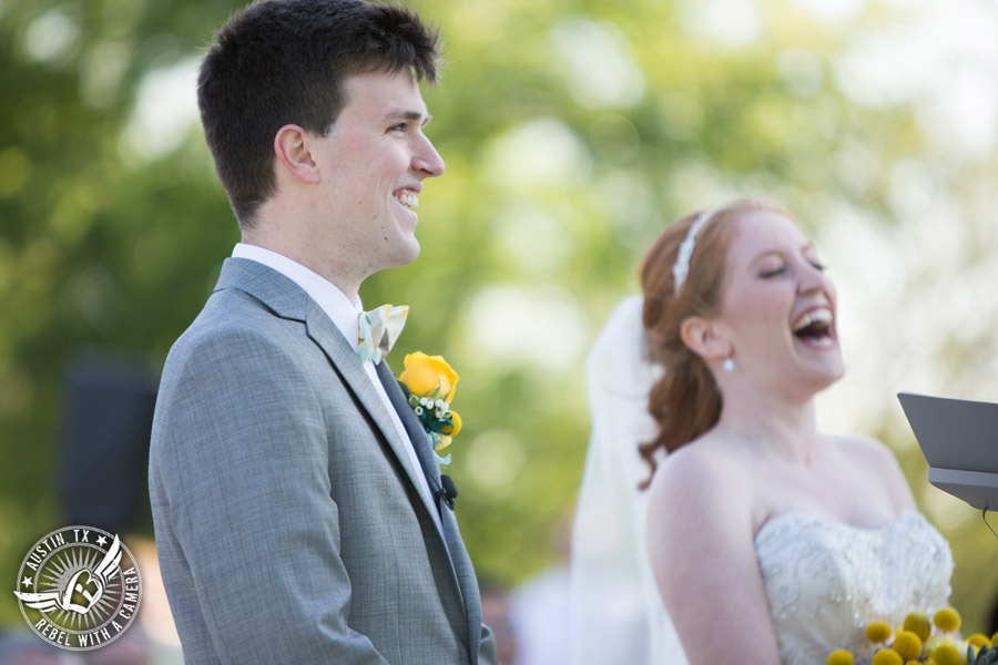 Fun Wedding Pictures at TerrAdorna in Austin, Texas - bride and groom laugh during the wedding ceremony