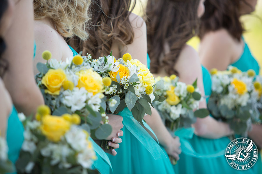 Fun Wedding Pictures at TerrAdorna in Austin, Texas - bridesmaids bouquets during the wedding ceremony