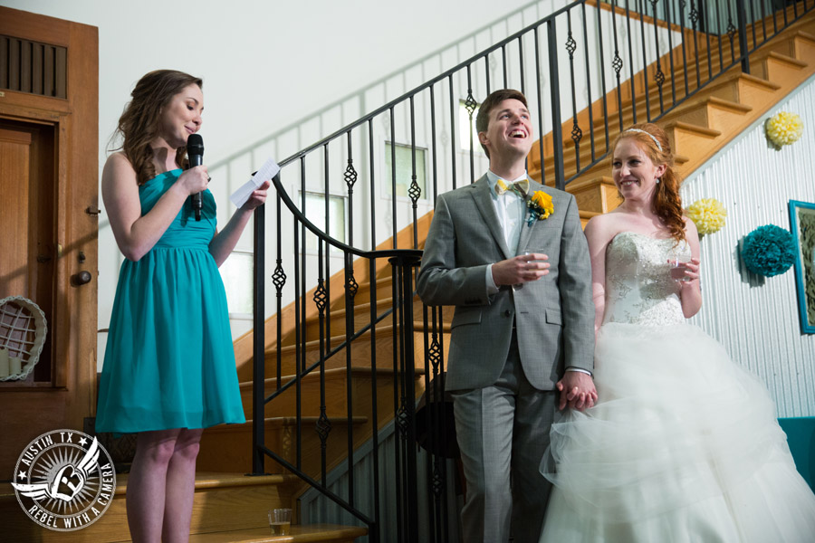 Fun Wedding Pictures at TerrAdorna in Austin, Texas - maid of honor gives toast during wedding reception