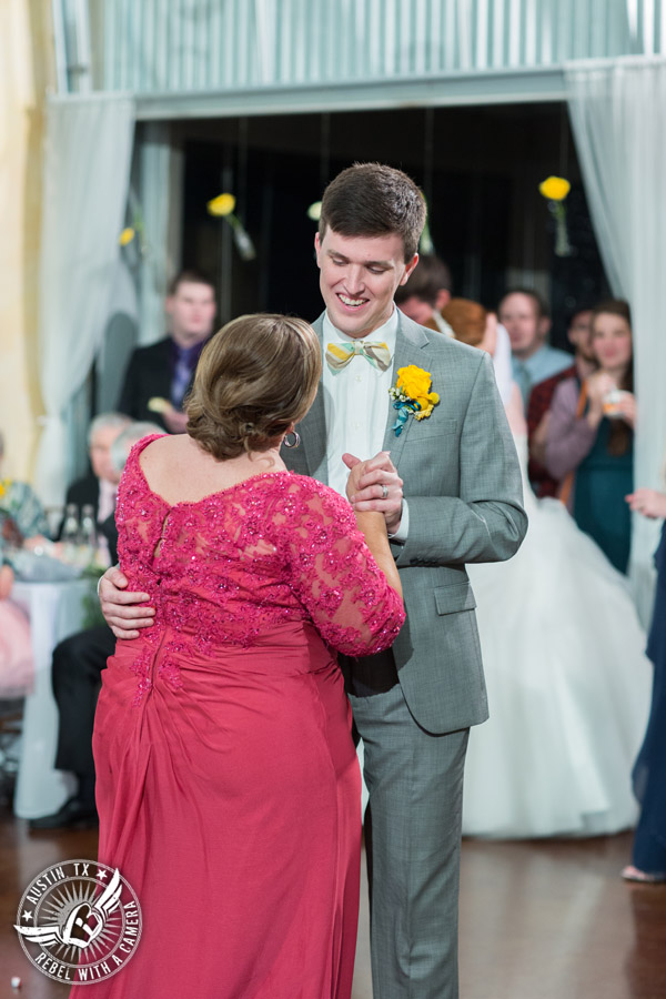 Fun Wedding Pictures at TerrAdorna in Austin, Texas - groom dances with his mother at wedding reception with Greenbelt DJ