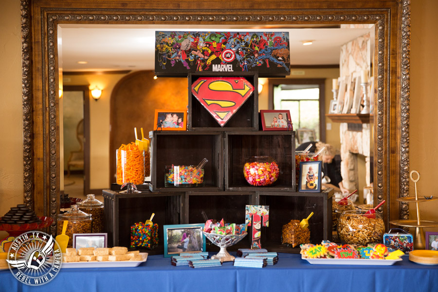 Lake Travis wedding pictures in Austin, Texas - Nature's Point - sweet and salty super hero themed snack bar