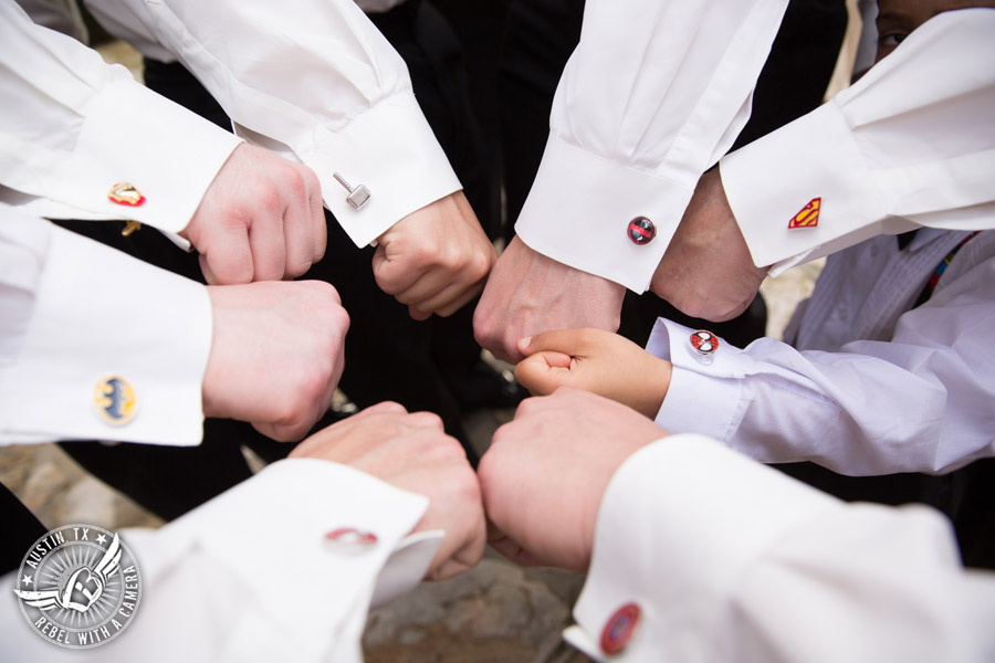 Lake Travis wedding pictures in Austin, Texas - Nature's Point - groom and groomsmen super hero cuff links