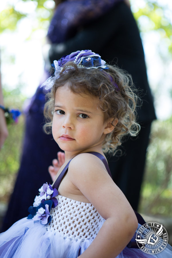 Lake Travis wedding pictures in Austin, Texas - Nature's Point - flower girl before wedding ceremony