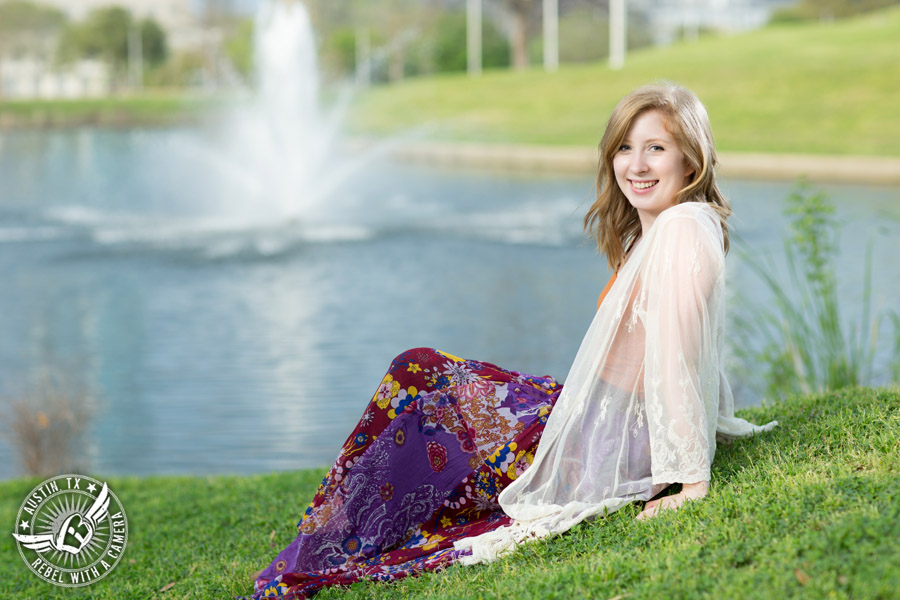 Graduation portraits at Butler Park in Austin, Texas