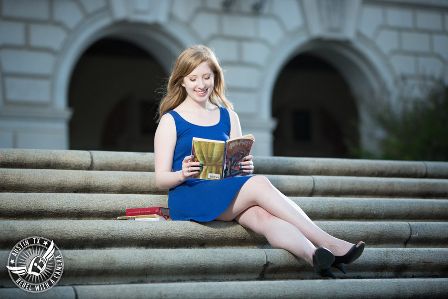 Longhorn graduation portraits on the UT campus in Austin, Texas