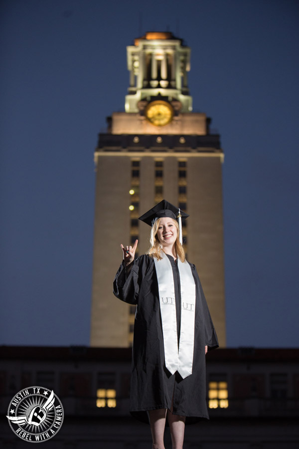 Longhorn graduation portraits on the University of Texas campus in Austin in front of the UT Tower