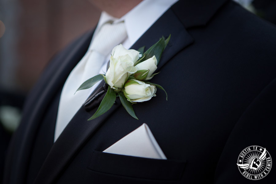 Winter Wedding Photos at the Texas Federation of Women's Clubs Mansion - boutonniere by Verbena Floral Design