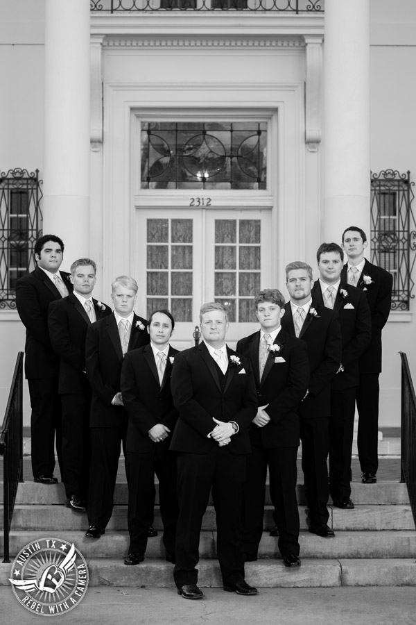 Winter Wedding Photos at the Texas Federation of Women's Clubs Mansion - groom and groomsmen