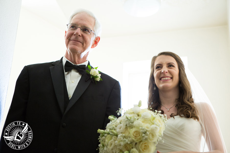 Wedding photography of bride and her father before walking down the aisle at St. Austin's Church