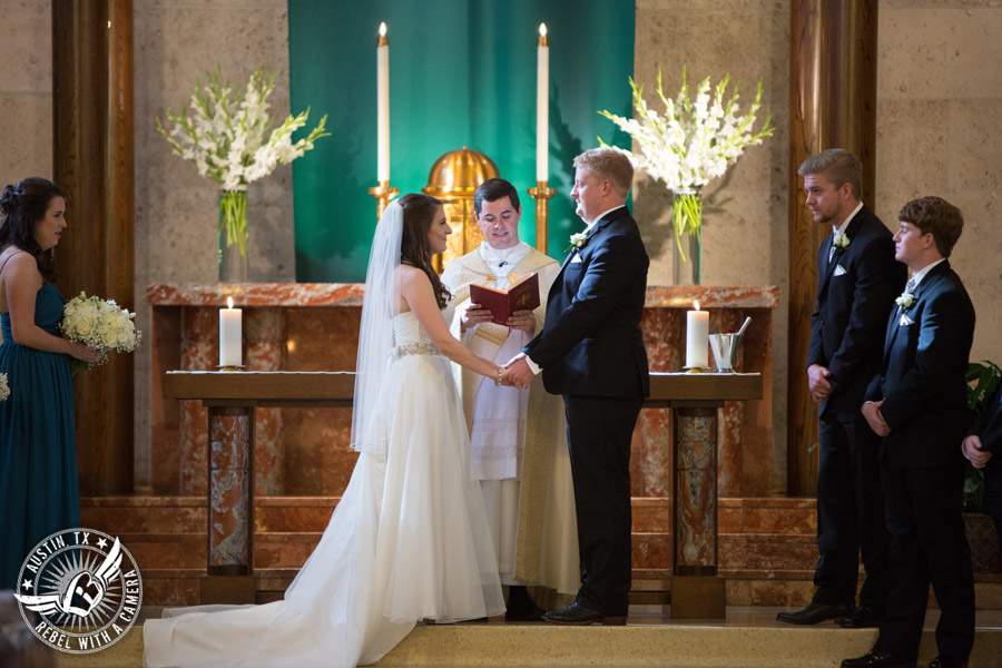 Picture of wedding ceremony at St. Austin's Church in downtown Austin, Texas