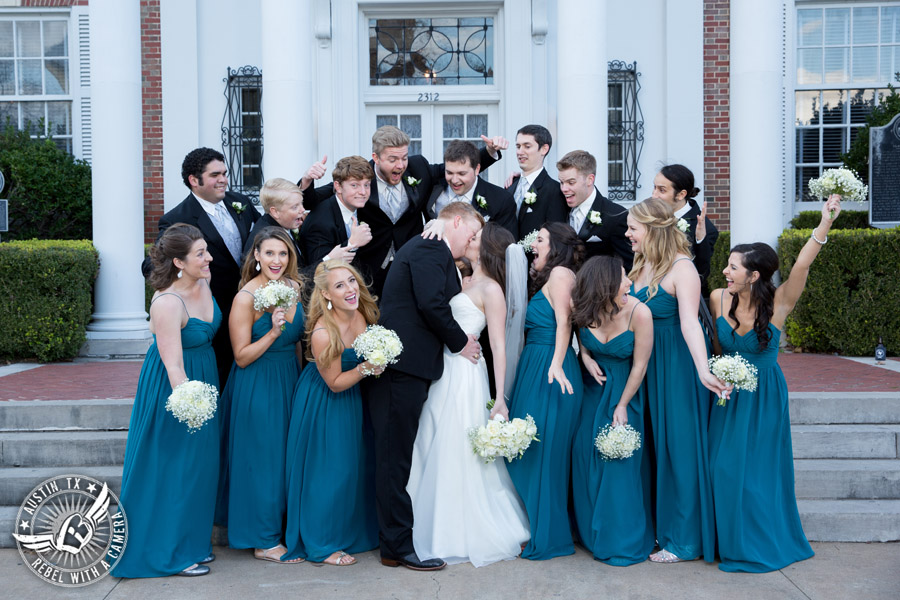 Winter Wedding Photos at the Texas Federation of Women's Clubs Mansion - bouquets by Verbena Floral Design - wedding party