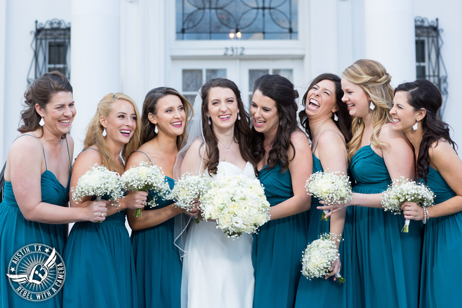 Winter Wedding Photos at the Texas Federation of Women's Clubs Mansion - bouquets by Verbena Floral Design - bride and bridesmaids
