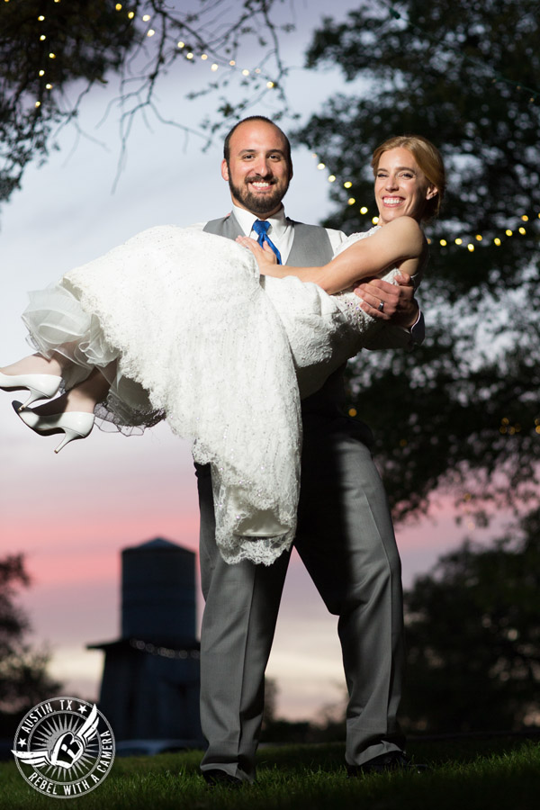Fun wedding photographer at Kindred Oaks in Austin, Texas - bride and groom in the sunset